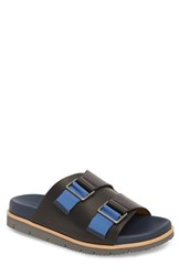 Donald J Pliner Slide Sandal Black Navy Leather