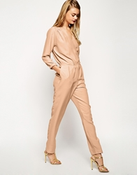 Asos Casual Utility Jumpsuit In Oversized Relaxed Fit Nude