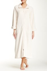 Casual Moments Zip Front Needle Out Trim Robe Beige