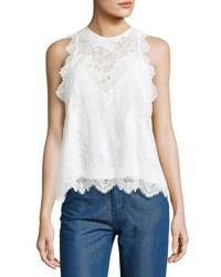 Carven Sleeveless Lace Top White