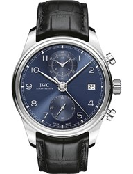 Iwc Iw390303 Portugieser Stainless Steel And Leather Chronograph Watch