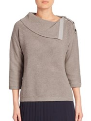 Peserico Virgin Wool Silk And Cashmere Cowlneck Sweater Grey