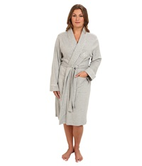 Lauren Ralph Lauren Plus Size Essentials Quilted Collar And Cuff Robe Heather Grey Women's Robe Gray