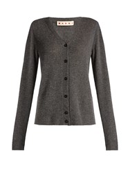 Marni Contrast Stitch V Neck Cardigan Dark Grey