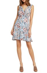 Willow And Clay Print Wrap Dress French Blue