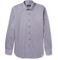 Alfred Dunhill Slim Fit Cotton And Cashmere Blend Shirt Blue