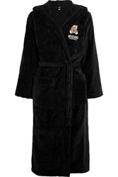Moschino Appliqued Hooded Cotton Terry Robe Black