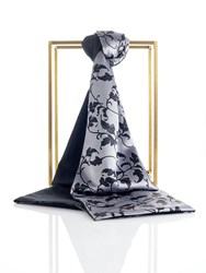 Shanghai Tang Leaves Printed Shawl Silver Black