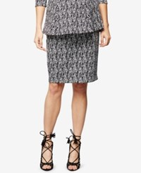 A Pea In The Pod Maternity Jacquard Pencil Skirt Blk Wht Scratch Prnt