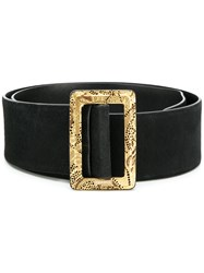 Chanel Vintage Broad Leather Belt Black