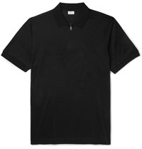 Brioni Slim Fit Cotton Zip Up Polo Shirt Black