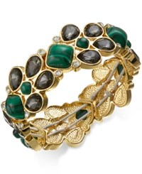Charter Club Gold Tone Green Stone And Crystal Stretch Bracelet Only At Macy's