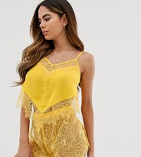 Wolf And Whistle Lace Cami Short Short Pyjama Set In Yellow