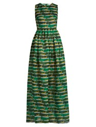 Mary Katrantzou Shaw Striped Cheetah Print Organza Dress Green Multi