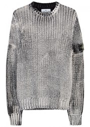 Stone Island Corrosion Fisherman Knit Cotton Jumper Black