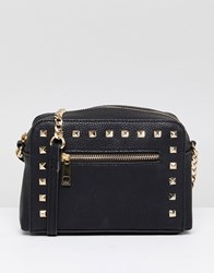 Asos Design Stud Zip Front Cross Body Bag Black