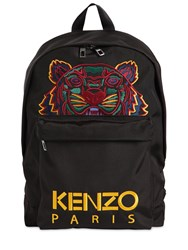 Kenzo Tiger Embroidered Nylon Backpack Black