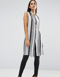 Ax Paris Pinstriped Sleeveless Shirt Black Cream