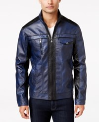 Inc International Concepts Men's Jones Two Tone Faux Leather Jacket Only At Macy's Navy