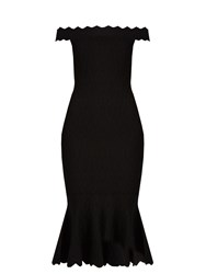 Jonathan Simkhai Off The Shoulder Fluted Hem Diamond Knit Dress Black
