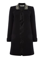 Tahari By Arthur S. Levine Black Coat With Pearl Embellished Collar