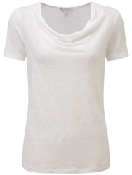 Pure Collection Mollie Luxury Linen Cowl Neck Top White