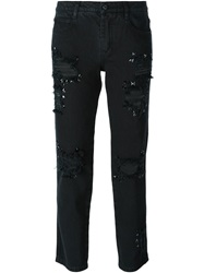 Ermanno Scervino Distressed Cropped Jeans Black
