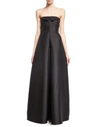 Armani Collezioni Crystal Embroidered Strapless Evening Gown Black