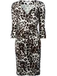 Diane Von Furstenberg Leopard Print Wrap Dress Nude And Neutrals