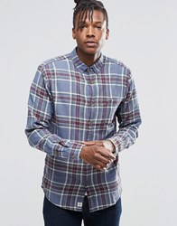 Pull And Bear Pullandbear Lightweight Check Shirt In Blue And Green In Regular Fit Blue