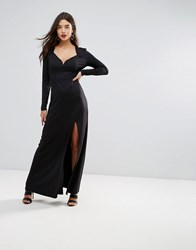 Ivyrevel Sweetheart Maxi Dress With Slit Front Black