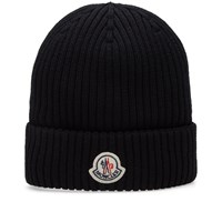 Moncler Basic Ribbed Beanie Black