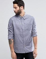 Bellfield Twin Stitch Chambray Shirt In Regular Fit Blue