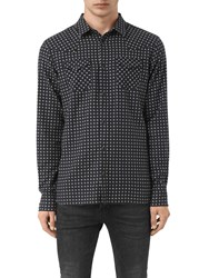 Allsaints Tahoe Mini Print Slim Shirt Grey Marl