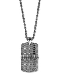 Triton Men's Stainless Steel And Sterling Silver Necklace Black Diamond Dog Tag Pendant 1 3 Ct. T.W.