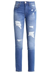 True Religion Halle Bowie Slim Fit Jeans Blue Destroyed Blue Denim