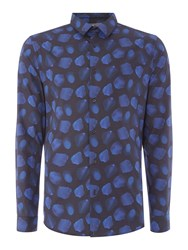 Linea Men's Larochelle Oil Paint Tulip Print Shirt Navy