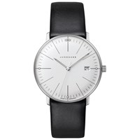 Junghans 047 4251.00 Women's Max Bill Date Leather Strap Watch Black White