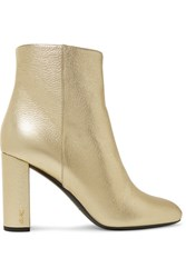 Saint Laurent Lou Lou Metallic Textured Leather Ankle Boots Gold