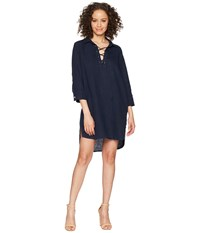 Allen Allen 3 4 Sleeve Tie Front Dress Lapis Navy