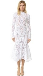 Jonathan Simkhai Long Sleeve Tower Lace Gown White