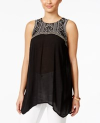 Styleandco. Style And Co. Embroidered Handkerchief Hem Sleeveless Top Only At Macy's Destiny Black