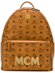 Mcm Printed Logo Backpack Brown