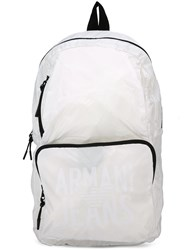 Armani Jeans Logo Print Backpack White