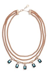 Vince Camuto 3 Row Statement Necklace Rose Gold