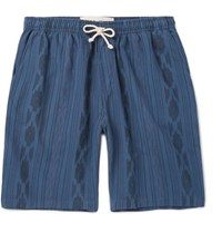 Mollusk Ikat Print Cotton Drawstring Shorts Blue