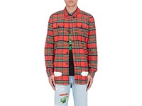 Off White C O Virgil Abloh Men's Spray Painted Cotton Shirt Red