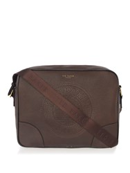 Ted Baker Donboss Embossed Messenger Bag Chocolate