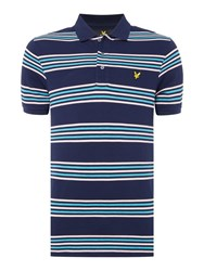 Lyle And Scott Men's Short Sleeve Striped Polo Navy