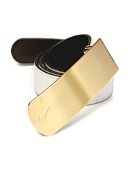 Giuseppe Zanotti Crocodile Embossed Leather Belt White